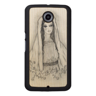 Mary with Roses Wood Phone Case