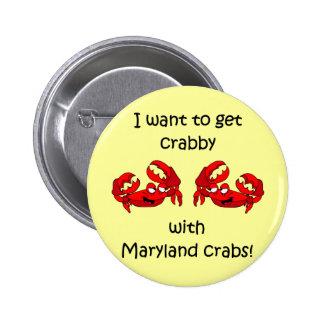 Maryland crabs 2 inch round button