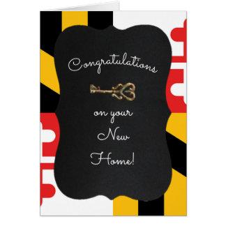 Maryland Flag Chalkboard Key Housewarming Card