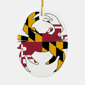 Maryland Flag Crab Ceramic Oval Ornament