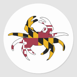 Maryland Flag Crab Classic Round Sticker