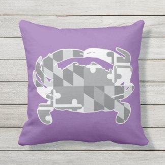 Maryland Flag/Crab greyscale pillow - lavander