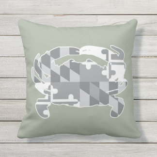 Maryland Flag/Crab greyscale pillow - olive