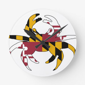 Maryland Flag Crab Round Clock