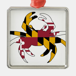 Maryland Flag Crab Silver-Colored Square Ornament