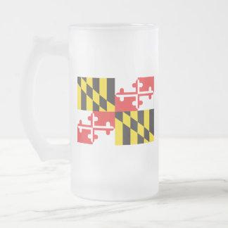 Maryland Flag Frosted Glass Beer Mug