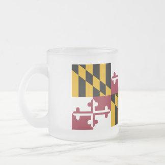 Maryland Flag Frosted Glass Coffee Mug
