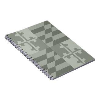 Maryland Flag Monochromatic note book - olive