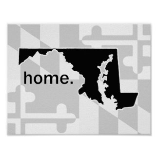 Maryland Flag/State pop of color - black Poster