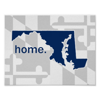 Maryland Flag/State pop of color - navy blue Poster