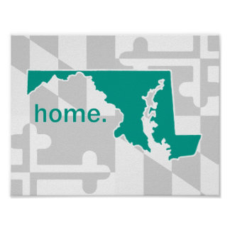 Maryland Flag/State pop of color - turquoise Poster