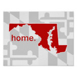 Maryland Flag/State pop of colour - red Poster