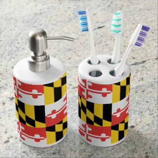 Maryland Flag Toothbrush Holder and Soap Dispenser