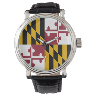 Maryland Flag Watch w/Leather Wristband