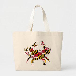 Maryland Flag Wavy Crab Large Tote Bag