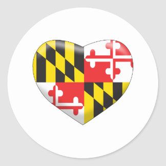 Maryland Heart Classic Round Sticker