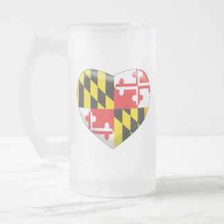 Maryland Heart Frosted Glass Beer Mug