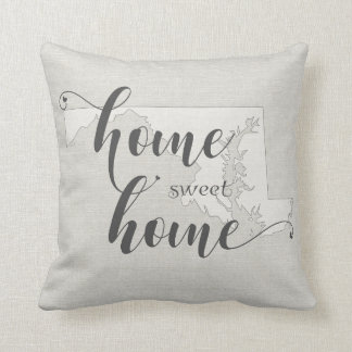 Maryland - Home Sweet Home burlap-look Throw Pillow