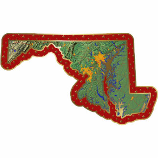 Maryland Map Christmas Ornament Cut Out