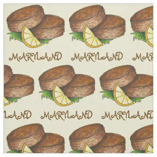 Maryland MD Crab Cake Cakes Spicy Crabcake Fabric