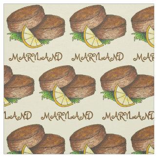 Maryland MD Crab Cake Cakes Spicy Crabcake Lemon Fabric