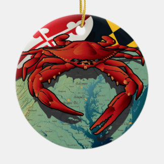Maryland Red Crab by Joe Barsin Ceramic Ornament