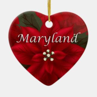 Maryland Red Poinsettia Heart  Keepsake Ornament