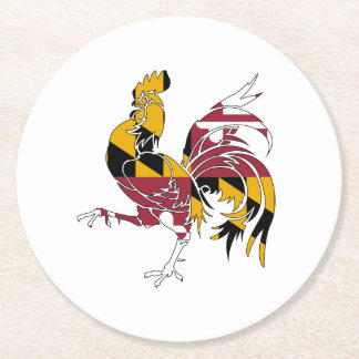 Maryland Rooster Round Paper Coaster