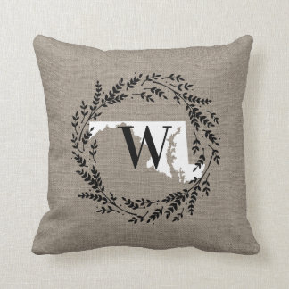 Maryland Rustic Wreath Monogram Throw Pillow