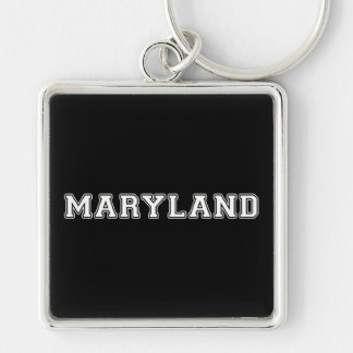 Maryland Silver-Colored Square Keychain