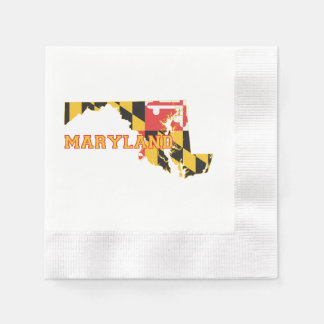 Maryland state Flag and Map Paper Napkins