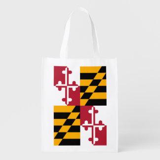 Maryland State Flag Design Reusable Grocery Bag
