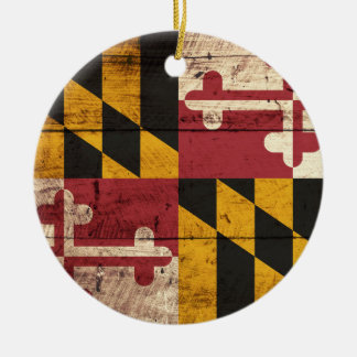 Maryland State Flag on Old Wood Grain Ceramic Ornament