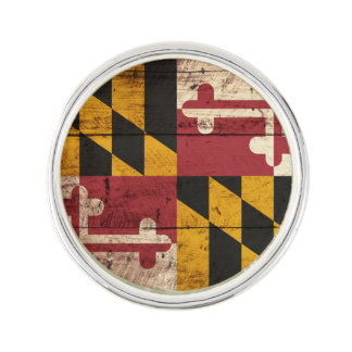 Maryland State Flag on Old Wood Grain Lapel Pin