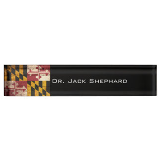 Maryland State Flag on Old Wood Grain Name Plate
