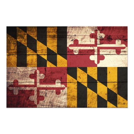 Maryland State Flag on Old Wood Grain Photo
