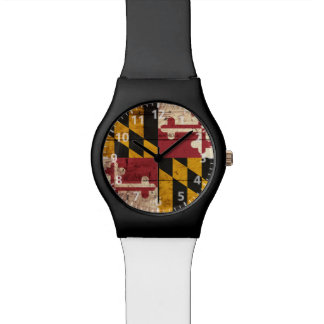 Maryland State Flag on Old Wood Grain Watches
