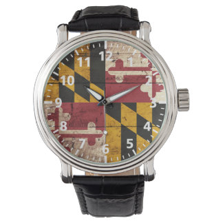 Maryland State Flag on Old Wood Grain Wrist Watch