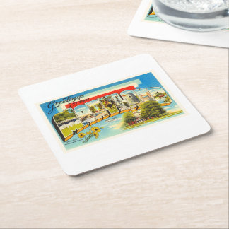 Maryland State MD Old Vintage Travel Postcard- Square Paper Coaster
