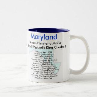 Maryland Symbols & Map Two-Tone Coffee Mug