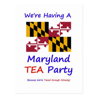 Maryland TEA Party - We're Taxed Enough Already! Postcard