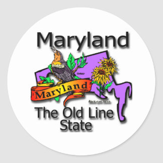Maryland The Old Line State Bird Classic Round Sticker