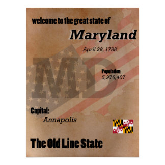 Maryland The Old Line State Classic Poster