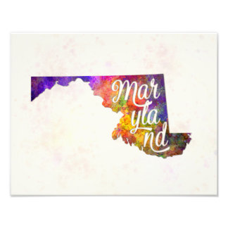 Maryland U.S. State in watercolor text cut out Photo Print