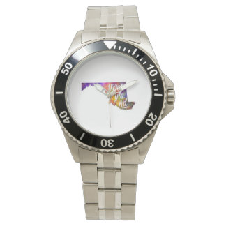 Maryland U.S. State in watercolor text cut out Wrist Watches