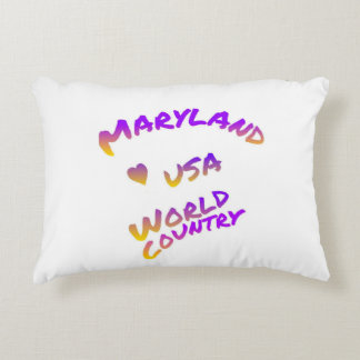 Maryland usa world country, colorful text art accent pillow