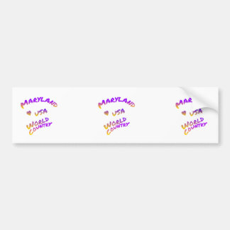Maryland world country, colorful text art bumper sticker
