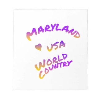 Maryland world country, colorful text art notepad