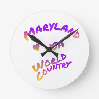 Maryland world country, colorful text art round clock