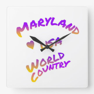 Maryland world country, colorful text art square wall clock